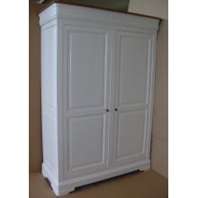 Dulap lemn masiv fag Lorena, 2 usi, alb, 140x60x200 cm