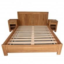Set pat 160x200 cm + 2 noptiere Stefania, lemn masiv de stejar