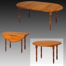 Masa rotunda extensibila, 2 extensii, laterale rabatabile, lemn masiv fag, finisaj cires, 120x120x75 cm