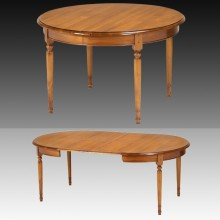 Masa rotunda extensibila, 2 extensii, lemn masiv cires, 120x120x75 cm