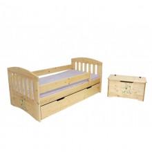 Pat copii Simba cu sertar, lemn masiv, lac natur, 80x160 cm