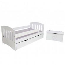Pat copii Simba cu sertar, lemn masiv, alb, 80x160 cm