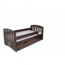 Pat copii Simba cu sertar, lemn masiv, finisaj nuc, 80x160 cm