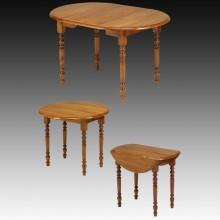 Masa extensibila 3 in 1, lemn masiv fag, 1 extensie, 90-90 cm, finisaj cires