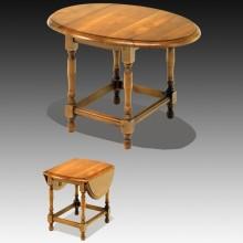 Masa laterale pliabile, lemn masiv fag, finisaj stejar, 50x75x70 cm