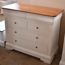 Comoda lemn masiv de fag Lorena, 6 sertare, finisaj alb+cires, 110x50x93 cm
