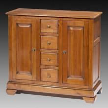 Comoda lemn masiv Lorena, 2 usi si 4 sertare, cires+fag, 99x38x90 cm