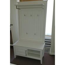 Set mobila hol Atena, bancuta+cuier, lemn masiv,  alb