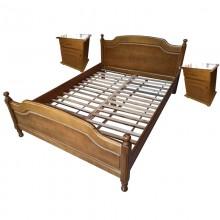 Set pat lemn masiv de fag 160x200 cm si 2 noptiere, finisaj stejar, Ramely