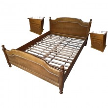 Set pat lemn masiv de fag 140x200 cm si 2 noptiere, finisaj stejar, Ramely