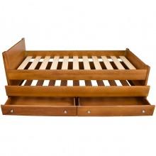 Pat extensibil Luca, lemn masiv de fag, sertare depozitare, finisaj cires, 90x200 cm