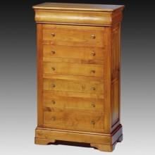 Comoda lemn masiv Lorena, 7 sertare, cires, 80x40x130 cm