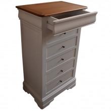 Comoda lemn masiv de fag Lorena, 6 sertare, finisaj alb+cires, 70x46x120 cm