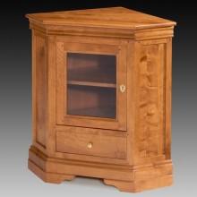 Comoda TV pe colt, lemn masiv cires, 1 usa cu sticla si 1 sertar, 86x61x90 cm