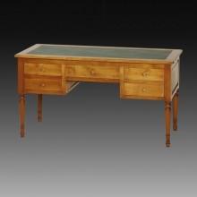 Masa birou lemn masiv Lorena, 5 sertare si 2 extensii, cires