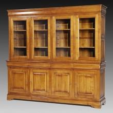 Biblioteca lemn masiv Lorena, 4 usi cu sticla, 4 sertare, 4 usi, cires