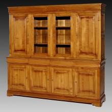 Biblioteca lemn masiv Lorena, 2 usi cu sticla, 4 sertare, 6 usi, cires