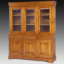 Biblioteca lemn masiv Lorena, 3 usi cu sticla, 3 sertare, 3 usi, cires