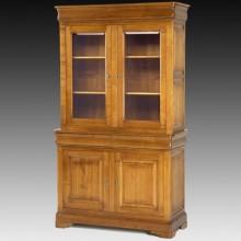 Biblioteca lemn masiv Lorena, 2 usi cu sticla, 2 sertare, 2 usi, cires