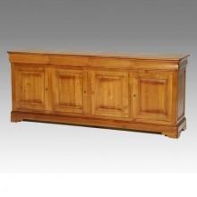 Comoda lemn masiv Lorena, 4 usi si 4 sertare, cires, 239x52x98 cm