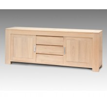 Comoda Stefania, lemn masiv de stejar, 2 usi si 3 sertare, 225x50x85 cm