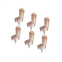 Set 6 scaune lemn masiv fag, tapitat, 110x50x46 cm