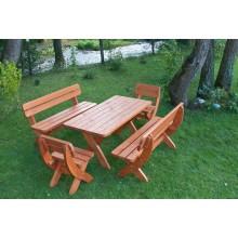 Set mobiler de gradina King 190, lemn masiv, culoare cires, masa + 2 bancute + 2 scaune