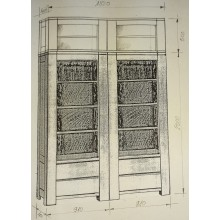 Corp superior biblioteca Stefania, lemn masiv stejar, 182x40x50 cm