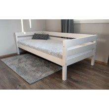 Pat canapea din lemn masiv Luis, alb, 90x200 cm