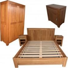 Set mobila dormitor Stefania 140-5, lemn masiv de stejar