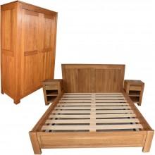 Set mobila dormitor Stefania 140-4, lemn masiv de stejar