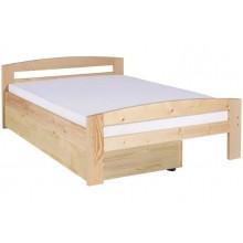 Pat dormitor complet Serena din lemn masiv cu lada de depozitare si salteaua inclusa, natur lacuit, 160x200 cm