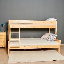 Pat ieftin Family supraetajat din lemn, 80/120x200 cm, lacuit natur, 3 persoane