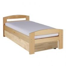 Pat dormitor Serena din lemn masiv cu lada de depozitare, natur, 90x200 cm