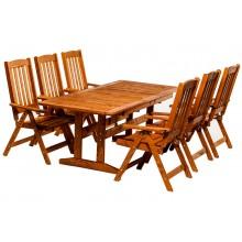 Set mobiler de gradina Eva, lemn masiv, masa extensibila, scaune pliante
