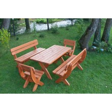 Set mobiler de gradina King, lemn masiv, culoare cires, 8 persoane