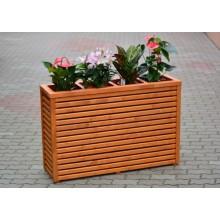 Suport flori din lemn cu ghiveci plastic inclus, 4 compartimente, inalt